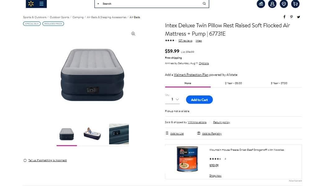 walmart product listing